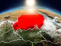日出的苏丹从轨道 图库摄影