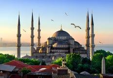 日出的蓝色清真寺 图库摄影