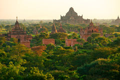 日出的, Bagan,缅甸佛教塔。 库存照片