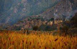 日出的Shatili村庄,乔治亚 库存图片