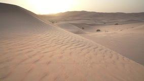 日出股票英尺长度录影的美丽的磨擦Al Khali沙漠 股票视频