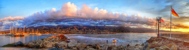 日出防堤圣塔巴巴拉加利福尼亚 图库摄影