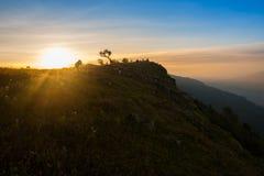 日出顶面小山 图库摄影