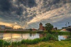 日出风景:古老克里姆林宫在Kolomna,莫斯科地区,俄罗斯 免版税库存照片