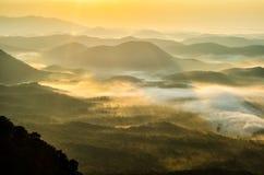 日出,南卡罗来纳,阿巴拉契亚山脉 免版税库存照片