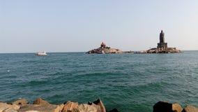 日出,日落,海角comorin,科摩林角, Tamilnadu 免版税库存图片