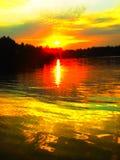 日出,日落, Thesun,小河 库存图片