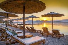 日出,科孚岛,希腊 免版税库存照片