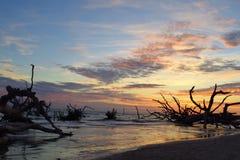 日出,黑岩石海滩 免版税图库摄影