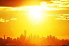 日出, NYC,从NJ 线路 免版税库存图片