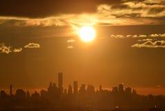日出, NYC,从NJ 图库摄影