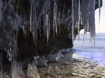 日出 洞冰柱 库存照片