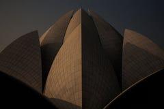 日出细节莲花寺庙,新德里 免版税库存照片