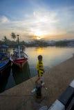 日出Sangiang海岛,万丹省 印度尼西亚 免版税图库摄影