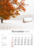 2014日历。11月。 图库摄影