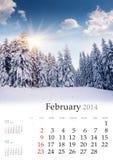 2014日历。2月。 免版税库存照片
