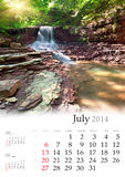 2014日历。7月。 免版税图库摄影