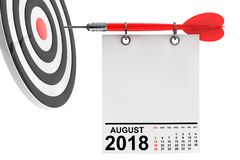 日历与目标的2018年8月 3d翻译 库存图片