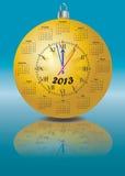 日历以时钟的形式2013年 图库摄影