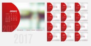 日历传染媒介2017年,与现代styl的12个月日历 免版税图库摄影
