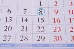 日历和蓝色圈子 免版税库存图片