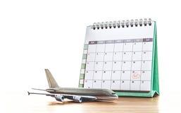 日历和飞机模型 图库摄影