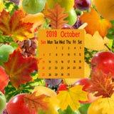 日历在果子背景的2019年10月的图象 图库摄影