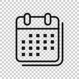 日历在透明样式的组织者象 任命事件在被隔绝的背景的传染媒介例证 月最后期限 向量例证