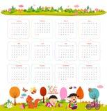 日历在2016年与动画片和滑稽的动物和孩子 你好秋天 免版税图库摄影