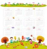 日历在2016年与动画片和滑稽的动物和孩子 你好秋天 库存图片