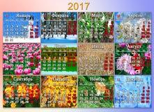 日历在2017年与十二自然照片用俄语 免版税库存照片