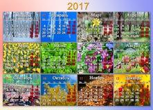 日历在2017年与十二自然照片用俄语 库存照片
