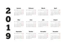 日历在2019年与从星期一开始的星期, A4板料 免版税库存照片