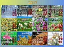 日历在2017年在与十二自然照片的乌克兰语  免版税图库摄影