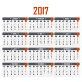 日历在2017年 在星期一,星期起始时间 图库摄影
