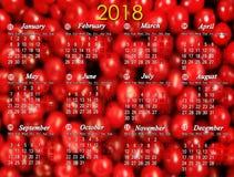 日历在2018年在红色樱桃背景 库存图片