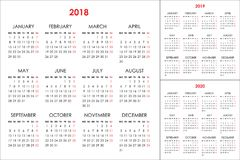 日历在2018年2019年, 2020年 免版税库存照片