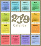 日历在2019年 免版税图库摄影