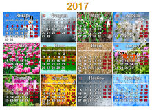 日历在2017年用有十二自然照片的俄语  免版税库存图片