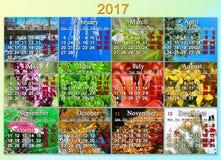 日历在2017年用英语与十二自然照片  免版税库存照片