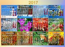 日历在2017年用英语与十二自然照片  库存图片