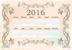日历在2016年 库存例证