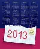 日历在2013年。 在星期天,星期起始时间。 scho 库存例证
