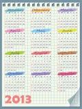 日历在2013年。 在星期天,星期起始时间 皇族释放例证