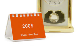 日历微型时钟的桌面 免版税库存图片