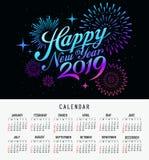 日历新年快乐2019年消息烟花五颜六色的设计 向量例证