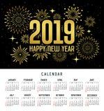 日历新年快乐2019年消息烟花金子和黑模板 库存例证
