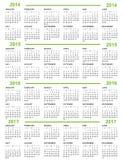 日历新年2014 2015 2016 2017年 免版税库存照片
