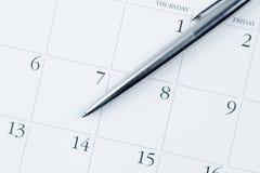 日历日期可视7月的笔 库存照片