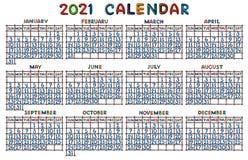 日历栅格在2021年,铸造从彩色塑泥 向量例证